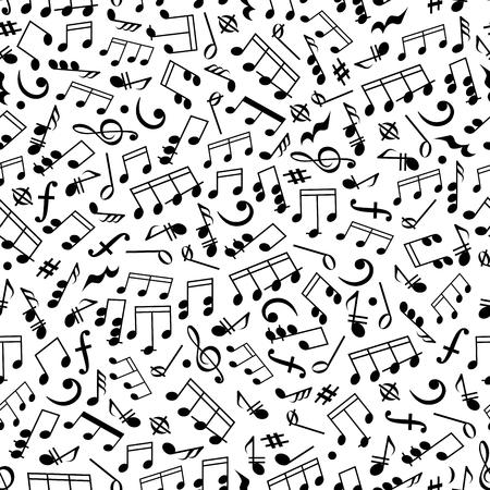 음악과 기둥 절반 노트, 분 음표, 코드 및 휴식, 고음 및 저음 겹선, 키 서명과 역학의 흑백 원활한 패턴 사운드 배경