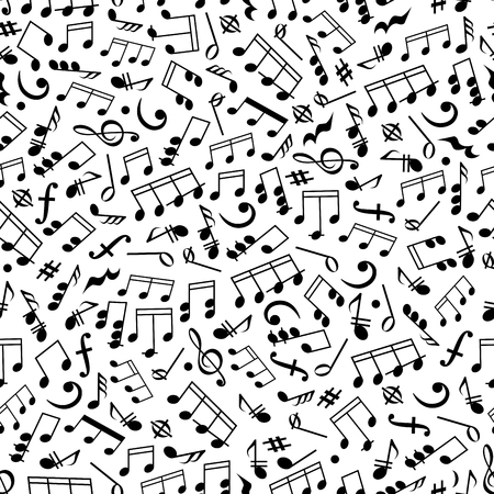 chords: Music and sound background with black and white seamless pattern of beamed and half notes, quavers, chords and rests, treble and bass clefs, key signatures and dynamics