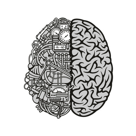 intellect: Human machine brain symbol with detailed illustration of combined human brain with automatic computing engine equipments. Great for computer technology and artificial intellect theme or education concept Illustration