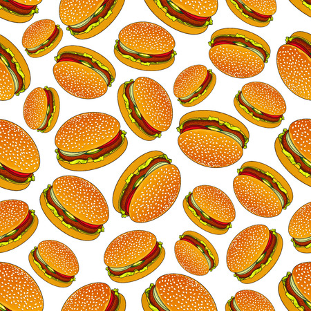 ground beef: Takeaway fast food burgers background for cafe menu design usage with seamless pattern of hamburgers on sesame rolls with patties of ground beef, tomatoes, onions and pickles Illustration