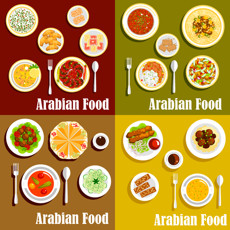 sesame: Bright arabian cuisine dishes icons with kebabs, shawarma and chickpea falafels, hummus and soups, rice, vegetable and bread salads with meat stews, nut desserts and sesame pastries with coffee drinks