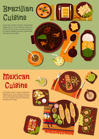 Delicious and rich of flavors cuisine of Mexico and Brazil flat icons with grilled beef and corn, black bean and shrimp stews, tacos, enchiladas and guacamole with nachos, staffed peppers and fried pork skin, fruity cocktails with mate and dumplings Vector Illustration