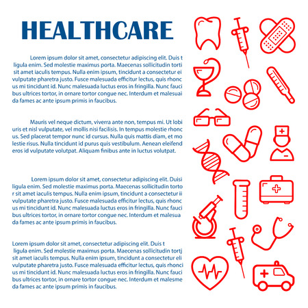 drug test: General medicine banner design template for medical and healthcare websites, infographics and printed materials with red icons of doctor , ambulance and stethoscope, syringes, pills and thermometer, tooth, heart and microscope, test tube and DNA