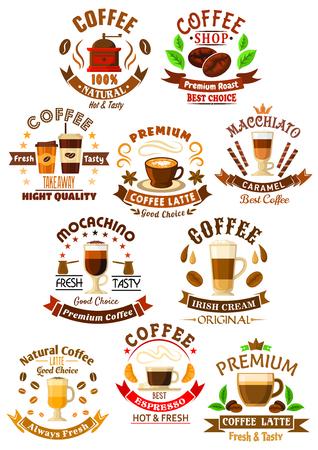 Premium-Qualität Kaffeegetränke Icons mit dekorativen und Essen zum Mitnehmen Tassen Espresso und Latte Macchiato, Mochaccino und Irish Cream Kaffee-Getränke, geschmückt von Kaffeebohnen und Sterne, Band-Banner und Süßigkeiten, Kronen und Gebäck