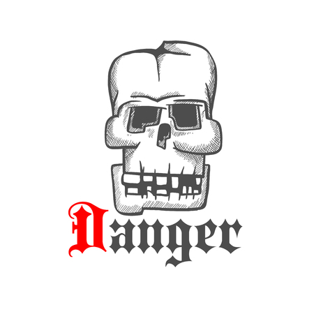 cranium: Square skull icon for tattoo or jewelry design usage with old human cranium with broken down teeth and cracked frontal bone. Vintage engraving stylized sketch Illustration