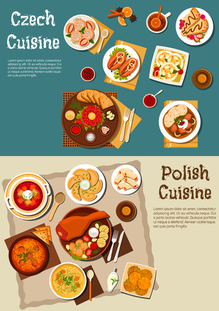 Polish and czech restaurant dinners with beer symbol served with pork leg and grilled vegetables, pickled sausages and cheese, meat stew and steak tartare, bread, strawberry and vegetable dumplings, potato and sweet pancakes, noodle and beet soups. Flat s
