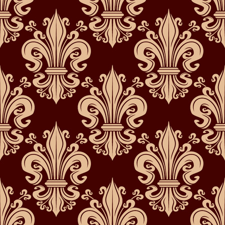 maroon background: Seamless filigree fleur-de-lis pattern with pale pink victorian stylized lily flowers adorned by flourishes and tendrils on maroon background. Use as french monarchy heraldic theme or interior design Illustration