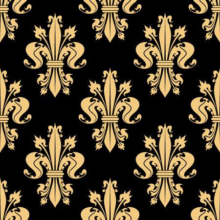 royal black wallpaper: Golden seamless pattern of royal french lilies arranged into fleur-de-lis ornament on black background. Great for vintage wallpaper or scrapbook page backdrop design Illustration