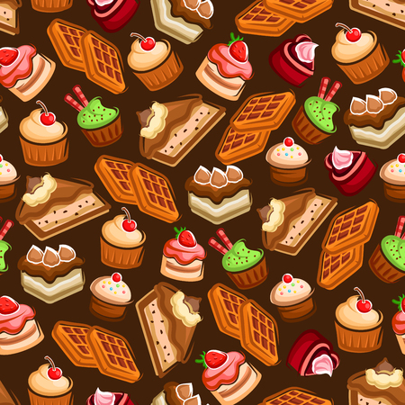 brown sugar: Seamless pattern of awesome chocolate cakes with cream and frosting decorations, cupcakes and muffins with fresh fruits and berries, belgian sugar waffles over brown background. Confectionery and pastry design