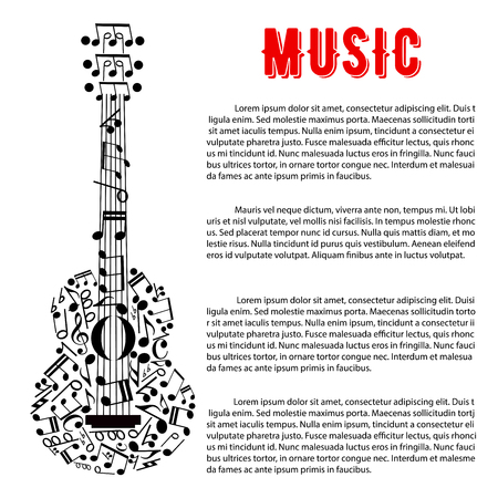 entertainment event: Musical concert poster or entertainment event announcement design with silhouette of acoustic guitar composed of musical notes and stave, treble and bass clefs