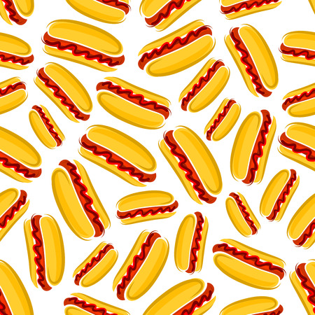 seasoned: Spicy seasoned hot dogs cartoon background of side-loading wheat buns with smoked sausages, hot chilli and tomato ketchup sauces seamless pattern. Fast food cafe or grill bar design usage