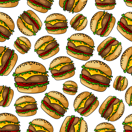 patties: Crispy grilled seamless cheeseburgers pattern background of fast food sandwiches with beef burger patties, topped with melted cheese, tomatoes and lettuce on toasted poppy seed buns