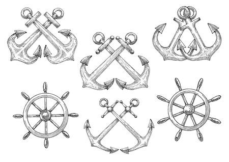 helm boat: símbolos náuticas retro de bosquejadas veleros timones y anclas cruzadas de almirantazgo. Uso como insignia del club marítimo o diseño heráldico marino Vectores