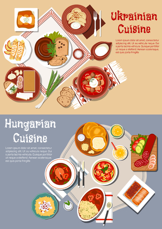 borscht: National cuisine of Ukraine and Hungary with flat symbols of rye and flat bread with cheese, fatback and sausages, borscht and fish soup, cabbage rolls, egg noodles and dumplings, pancakes and stove cakes with lemonade and milk