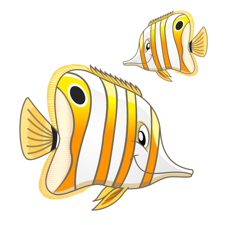 Cartoon bright tropical marine fish with white and yellow stripes and sly smile. Funny copperband butterflyfish or beaked coral fish character for aquarium mascot or t-shirt print design usage