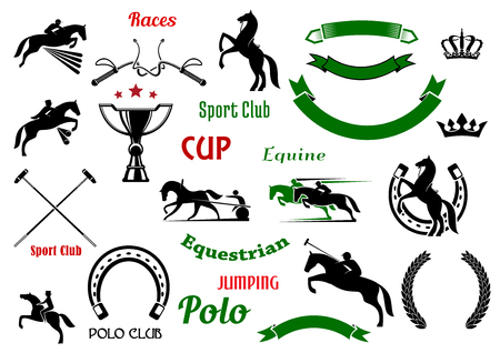tourney: Equestrian and polo club, races and jumping show competition symbols with rearing up and jumping horses, galloping race horses with riders, trophy cup and horseshoes, crossed mallets and whips, heraldic wreaths and ribbon banners, crowns and stars