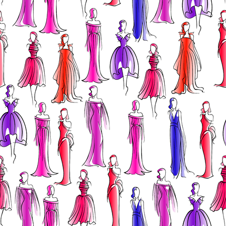 evening dresses: Fashion seamless background with sketch pattern of women silhouettes with elegant hairstyles, wearing blue, red and pink classic evening dresses and gowns. May be use as tailoring, sewing theme design