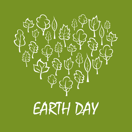 plants and trees: Green trees and plants arranged into a shape of heart symbol with caption Earth Day below. Concept illustration for save earth and eco friendly theme design Illustration