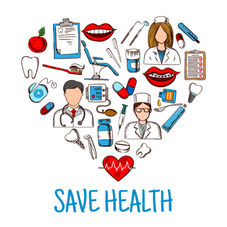 medical check: Colored sketches of dentist, nurse and physician with stethoscope and thermometer, medicines and syringes, healthy heart and teeth, dentist chair and tools, blood pressure monitor and medical check up forms, toothbrush and floss icons create a heart silho