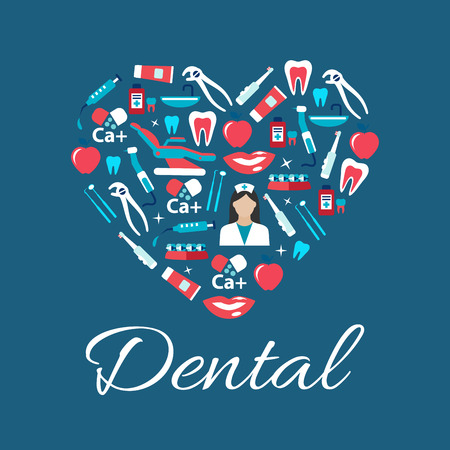 oral hygiene: Dental treatments and oral hygiene concept sign with heart symbol consist of dentist with tools and equipments, teeth and braces, syringes and calcium, toothbrushes, toothpastes and mouthwashes flat icons