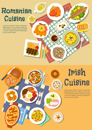 romanian: Irish stew and romanian mamaliga dishes served with grilled meat and fish, pancakes and full breakfast, cabbage rolls and corned beef, brussel sprouts and eggplant salads, thick stews and soups, sweet bread with coffee and flower lemonade. Flat style