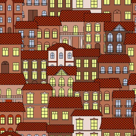 part time: Vintage seamless architecture background with pattern of old part of a town at evening time with brown facades of houses and bright shining windows. Great for interior or real estate theme design