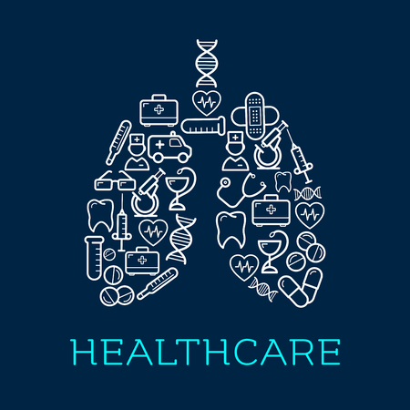 kits: Human lungs symbol created of medical icons for healthcare design usage with doctors and ambulance, thermometers and stethoscopes, pills and syringes, hearts, DNA and teeth, microscopes, test tubes and first aid kits