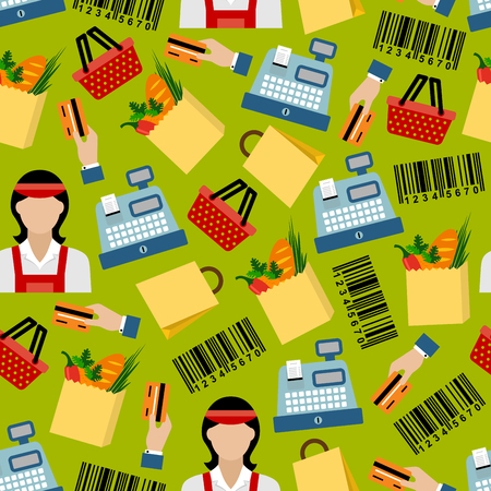 barcodes: Grocery shopping colorful seamless pattern with cashier sellers and cash registers, shopping baskets and paper bags with fresh vegetables and bread, bank credit cards and barcodes on green background