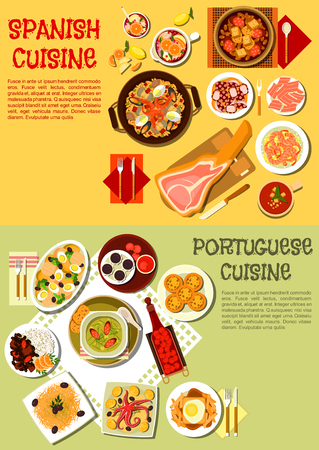 meat soup: Spanish seafood paella and portuguese bean and meat stew flat icon served with iberian ham and octopus dishes, cabbage soup with sausages and fries topped with hot sandwich, gazpacho, garlic shrimps and baked cod, tarts with sangria and fruit brandy Illustration