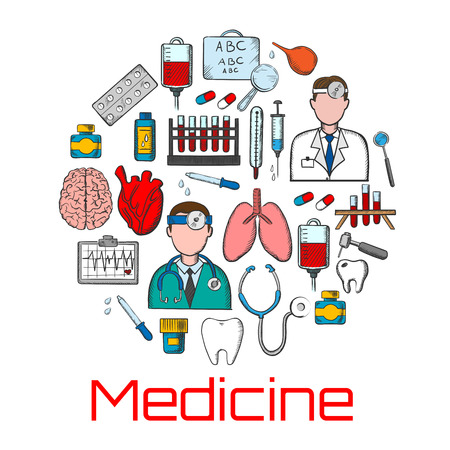 eye chart: General medicine colored sketches of doctors with stethoscopes, thermometers and syringes, pills and medicine bottles, blood bags and test tubes, brain, heart and lungs, teeth and dentistry tools, ecg monitor and eye chart for visual testing