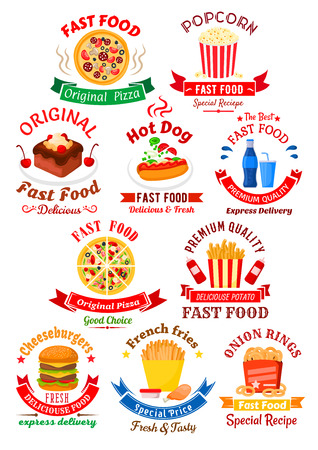 stars and symbols: Original italian pizza, hot dog and double cheeseburger, takeaway boxes of french fries, popcorn and onion rings, chocolate cake with cream and sweet soft beverages symbols for fast food cafe or pizzeria design, decorated by ribbon banners and stars
