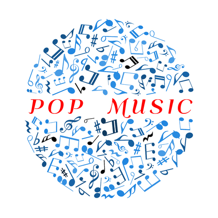 chords: Pop music concept symbol with musical notes and treble clefs, key signatures and rests, bass clefs and chords blue icons arranged into disco ball. Use as music concert or disco party poster design usage