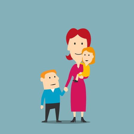 parenting: Happy family of mother and two kids. Smiling cartoon woman in elegant pink dress standing with little daughter and older son. Great for mother day concept or parenting theme design
