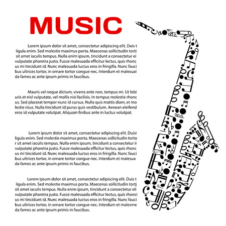 notation: Music event poster design template. Jazz festival, music award or party banner with saxophone symbol created of musical notes and symbols of music notation, header Music and text layout in the center