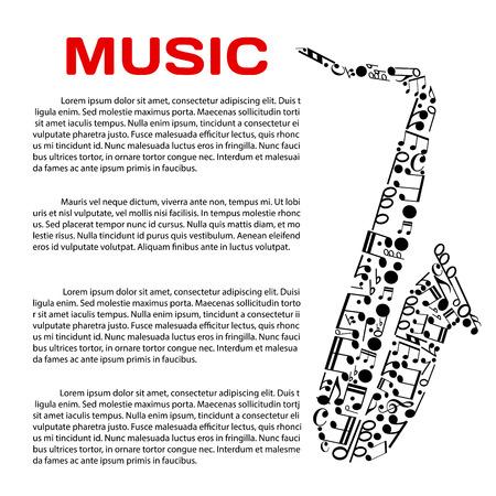 Muziek evenement poster design template. Jazz festival, muziek award of partij banner met saxofoon symbool gemaakt van muzieknoten en symbolen van muzieknotatie, header Muziek en tekst lay-out in het centrum