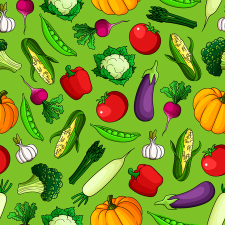 veggies: Seamless pattern of freshly harvested farm tomatoes and bell peppers, sweet corn cobs and pumpkins, green peas, broccoli and asparagus, ripe eggplants and cauliflowers, spicy garlic and radishes vegetables on green background