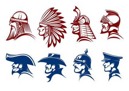 german soldier: Pirate and cowboy, viking warrior and native american indian, medieval knight and japanese samurai, general of prussian army and german soldier icons with blue and brown profiles of brave men