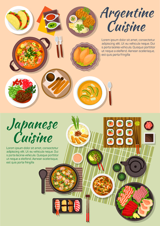 Japanese sushi and sashimi with argentine empanadas and tortillas symbol, miso soup and seafood cazuela, tofu and shrimp soup with beef shank and pork chop, beef with mushrooms and avocado soup, green tea and hot chocolate with churros Illustration