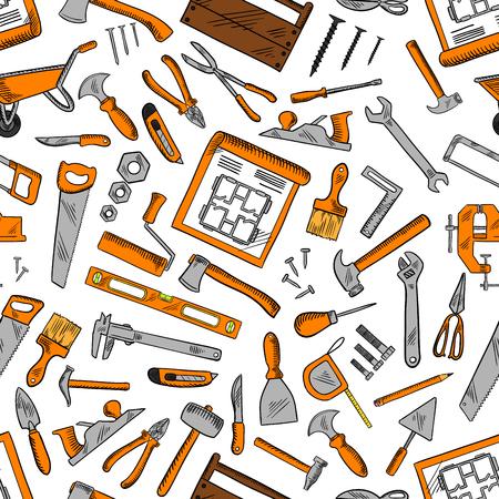 Bau Handwerkzeug nahtlose Muster Hintergrund mit Hammer, Schraubenzieher und Schraubenschlüssel, Zangen, Achsen und Kellen, Pinsel und Rollen, Messer, Sägen und Scheren, Nägel und Schrauben, Zeichnungen, Rullers und Zimmer Geräte-Kits Vektorgrafik