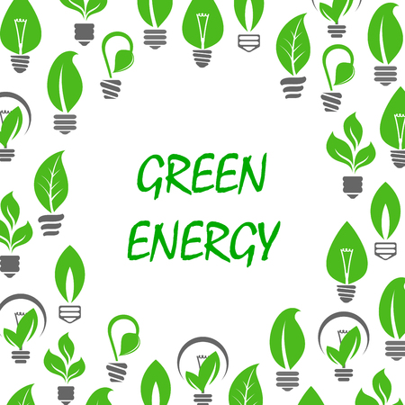 young leaves: Ecological and saving energy concept design with text Green Energy surrounded by green symbols of light bulbs with green leaves and young sprouts of trees and plants instead glass envelopes. Illustration
