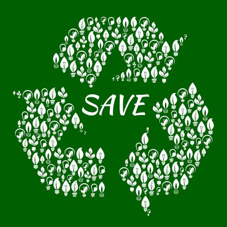 flechas curvas: El símbolo de reciclaje de flechas curvas que forman un triángulo con siluetas blancas de las bombillas de bajo consumo de energía con hojas estilizadas. Utilizar como la ecología y el tema de reciclaje de diseño