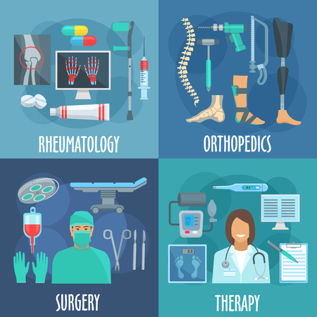 leg bandage: Surgery, therapy, orthopedic and rheumatology icons with flat symbols of doctors, operation table and surgery tools, checkup form and thermometer, x ray scan, medicines and crutch, prosthetic leg, bandage, spine and instruments