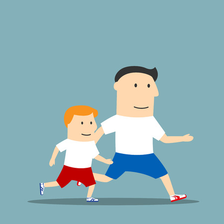 cheerful cartoon: Healthy lifestyle, sporting family, outdoor sport theme design. Cartoon cheerful father and son in sporting uniform are jogging and spending time together