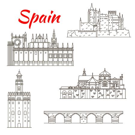 Mundial patrimonio arquitectónico de España icono lineal de Alcázar, puente Romano y Mezquita de Córdoba, la catedral y la Torre del Oro en Sevilla. Viaje o el planeamiento de las vacaciones el uso del diseño Foto de archivo - 66210253