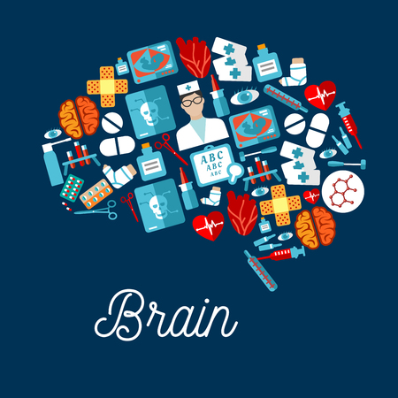 medicine bottles: Doctor, hearts and brains, thermometers, syringes and test tubes, medicine bottles and instruments, pills, x ray scans and ultrasound monitors, plasters and eyes flat icons arranged into symbol of a human brain Illustration