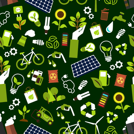 radioactive waste: Eco friendly and saving energy seamless pattern background with electric cars, bicycles and bio fuel, solar panels, wind turbines and light bulbs, fuming pipes of industrial plant and radioactive waste, recycling symbols, trees and flowers