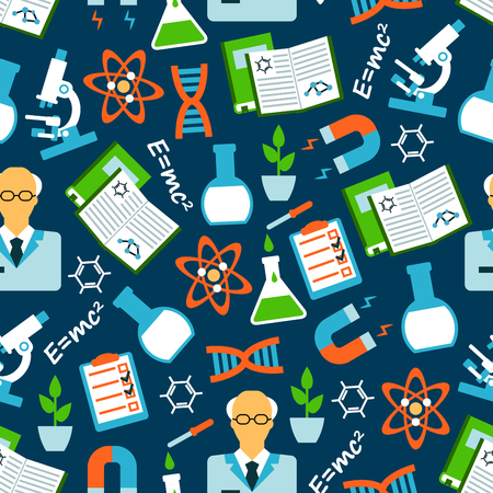 magnets: Seamless background of science research and education with flat pattern of scientists, books and microscopes, laboratory flasks and plants, physical and chemical formulas and models of DNA and atom, experiment results and magnets Illustration