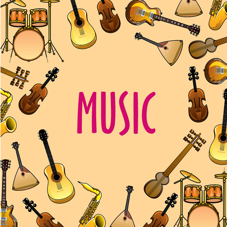 entertainment background: Musical instruments cartoon background for classic or ethnic music concert and entertainment event design with drum sets, acoustic and electric guitars, violins and saxophones, balalaikas and sitars