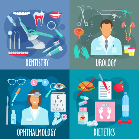 medical test: Medical branches flat design concept with icons of dentistry with dentist tools, urology with urologist, instruments and treatments, ophthalmology with optometrist and visual acuity test, dietetics with losing weight principles symbols
