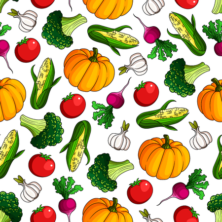 organic farming: Vegetarian healthy food pattern with cartoon seamless background of ripe autumnal red tomatoes and radishes, sweet corn cobs and pumpkins, broccoli and garlic vegetables. Organic farming design usage